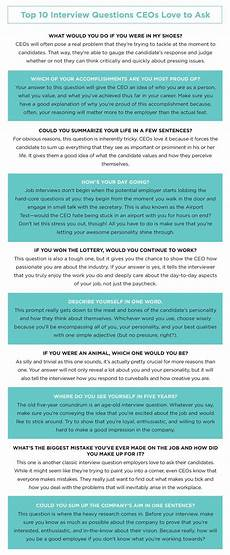Interview Questions For Ceo Position 9 Revealing Job Interview Questions Top Ceos Like To Ask