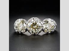 3.70 Carats Three Stone Fancy Yellow Edwardian Style