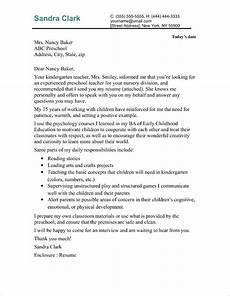 Cover Letter For Kindergarten Teacher Preschool Teacher Cover Letter Sample