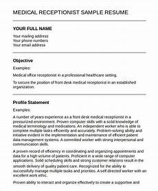 Cv For Medical Receptionist 5 Medical Receptionist Resume Templates Pdf Doc Free