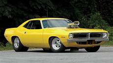 yellow muscle car plymouth barracuda hot rod tuning