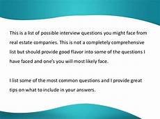 Real Estate Interview Questions Interview Questions And Answer Real Estate
