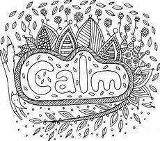 coloring page for adults with mandala and calm word