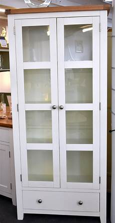 harrogate white display cabinet bookcase solid oak and