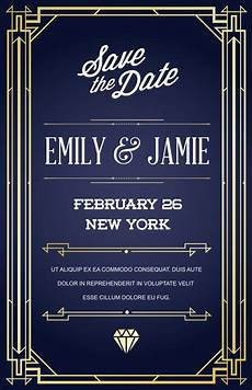 1920s Invitation Template Free Wedding Invitation Card Template With Design In Art Deco