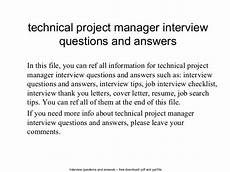 It Project Manager Interview Questions Technical Project Manager Interview Questions And Answers