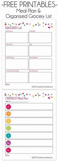 Meal List Organizational Printables Meal Plan Amp Grocery List Dawn