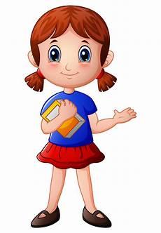desenho menina menina dos desenhos animados segurando um livro vetor