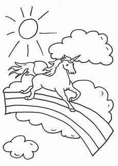 Ausmalbild Regenbogen Mit Einhorn Kostenlose Malvorlage Einh 246 Rner Einhorn Auf Dem