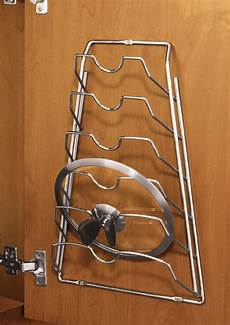 cabinet door lid rack chrome in pot lid racks