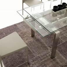 vetro tavolo tavolo allungabile in vetro trasparente 140x80 cm damian