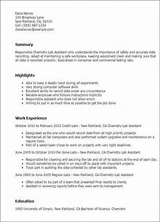 Sample Resume For Lab Assistant 1 Chemistry Lab Assistant Resume Templates Try Them Now
