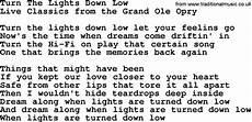 Turn The Lights Down Low Lyrics Country Turn The Lights Down Low By Marty Robbins Lyrics