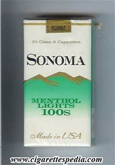 Sonoma Menthol Lights Sonoma Menthol Lights L 20 S Usa Cigarettes Pedia