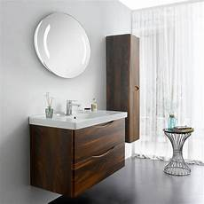 brown elm wall mounted bathroom cabinet with drawers