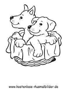 ausmalbild hunde im korb zum kostenlosen ausdrucken und
