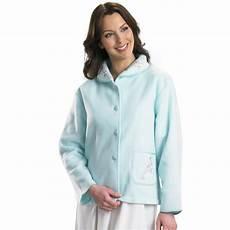 womens polar fleece bed jacket slenderella button up
