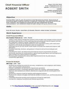 Chief Financial Officer Resume Financial Officer Resume Samples Qwikresume