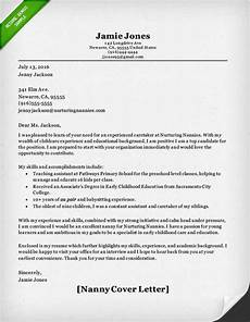 Cover Letter Examples For Nanny Position Nanny And Caregiver Cover Letter Samples Resume Genius