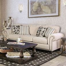 Nailhead Trim Sofa 3d Image by Josephine Transitional Back Beige Fabric Sofa With