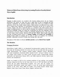 Sample Accounting Memo Memo On Ethical Issue Of Deceiving Accounting Practices