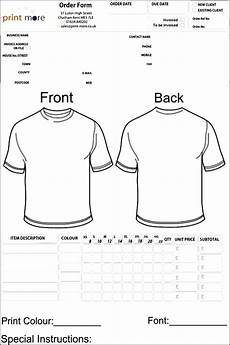 Free Clothes Sample Blank Clothing Order Form Template Order Form Template