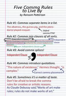 Rules For Comma Usage Ransom Patterson Writer Thinker Learner