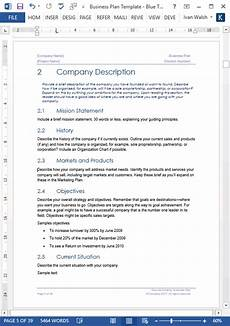 Bussiness Template Business Plan Templates 40 Page Ms Word 10 Free Excel