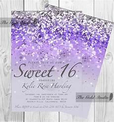 Light Blue Sweet 16 Invitations Customizable Purple Glitter Ombre Sweet Sixteen 16