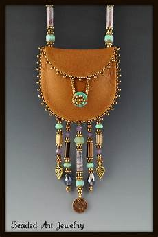 leather and beadwork beaded amulet bag