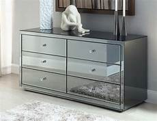 vegas smoke mirrored 6 drawer dressing table or low chest