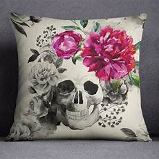 and pink flower and skull pillow skull design