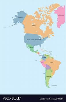 World Map Of North And South America Coloured Political Map Of North And South America Vector Image