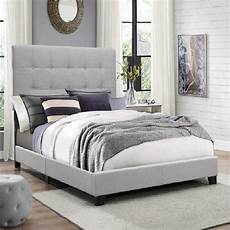 size platform bed frame w tufted headboard gray