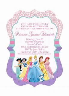 Disney Party Invitations 5x7 Ornate Disney Princess Birthday Invitation Front Amp Back