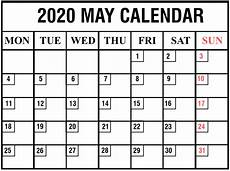 Blank May Calendar 2020 Download Free Blank May 2020 Printable Calendar Pdf