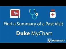 My Duke Chart Org View Past Visit Summaries With Duke Mychart Youtube