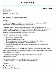 Cover Letter For Receptionist Position Medical Receptionist Cover Letter Sample
