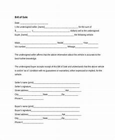Free Car Bill Of Sale Pdf Free 10 Sample Vehicle Bill Of Sales Forms In Pdf Excel