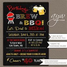 Bbq Birthday Invitations 40th Birthday Invitation Brew And Bbq Invitation Printable