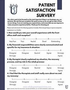Satisfaction Survey Patient Satisfaction Survey Rehab U Practice Solutions