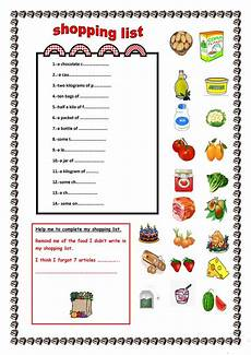 Making A Grocery List Worksheet My Shopping List English Esl Worksheets For Distance
