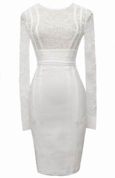 sleeve bandage dress seat sleeve lace insert bandage dress white white bandage