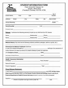 Personal Information Form For Students Student Information Form Inner City Ensemble