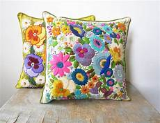 embroidery pillow sale vintage crewel embroidery pillow bright floral