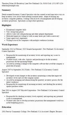 Inventory Skills Resumes Inventory Control Specialist Resume Template Best Design