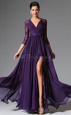 a line purple bridesmaid dresses purple v neck