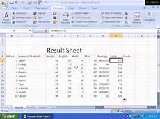 Ms Excel Sheet Final Result Sheet Ms Excel Youtube