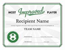 Most Improved Award Most Improved Player Award Certificate