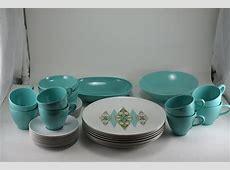 Vintage 1960s Aqua Turquoise Melmac Dinnerware Set Prolon